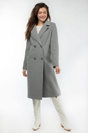 01-10295 Пальто женское демисезонное Пальтовая ткань светло-серый