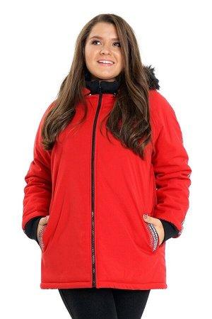 Куртка красная на молнии с капюшоном