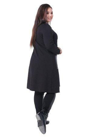 Костюм Материал: Трикотаж, искусственная кожа;  Фасон: Костюм; Длина рукава: Длинный рукав; Параметры модели: Рост 168 см, Размер 54 Костюм комбинированный туника с кожаными брюками черный Костюм из м