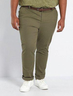 Узкие брюки-чинос с ремнем