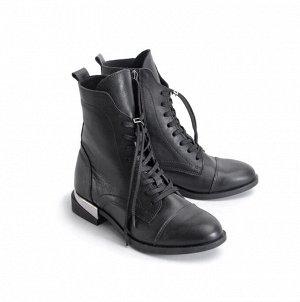 Ботинки женские демисезонные, черная кожа