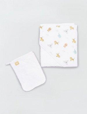 Махровое полотенце-накидка и банная рукавица