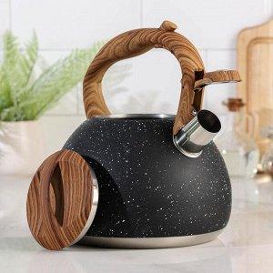 Чайник со свистком «Мрамор», 3 л , цвет чёрный