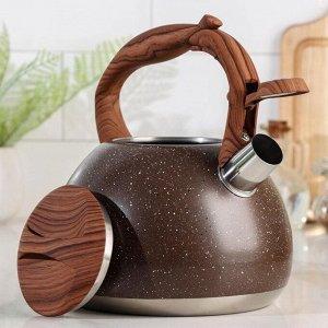 Чайник со свистком «Мрамор», 3 л, цвет коричневый
