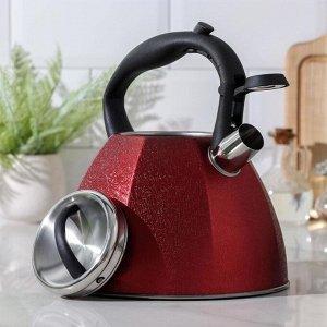 Чайник со свистком «Бархат», 4 л, цвет красный