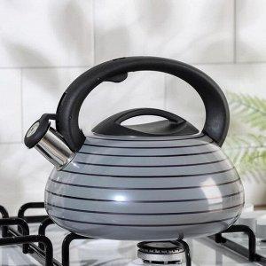 Чайник со свистком, Circles, серый