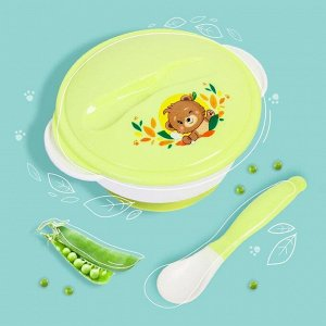 Набор детской посуды «Друзья», 3 предмета: тарелка на присоске, крышка, ложка, цвет зелёный