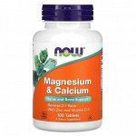 Минералы NOW Magnesium Calcium Zinc + D3 - 100 таб.