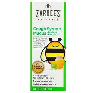 Zarbee's, детский сироп от кашля с отхаркивающим действием, с темным медом и листом плюща, с натуральным вкусом винограда, для детей возрастом 12 месяцев и старше, 118 мл