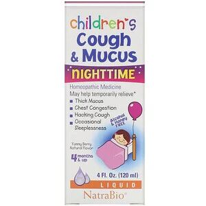 NatraBio, Children's Cough & Mucus, NightTime, Alcohol Free, Yummy Berry Natural Flavor, 4 Months and Up, 4 fl oz (120 ml)