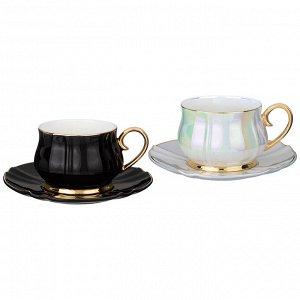 "Чайный набор на 2 персоны 4 пр. lefard ""pearl"" 200 мл черный и белый (кор=12наб.)"