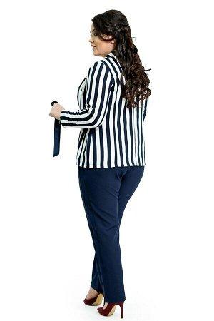 """Костюм Материал: Креп;  Костюм брючный пиджак """"Полоска"""" с запахом с завязкой Элегантный костюм из мягкого струящегося материала состоит из пиджака и брюк. Зауженные брюки отлично сидят за счет односто"""