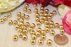 Бусины под жемчуг (золото) 10мм в упаковке 25 шт.