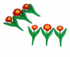 Ограждение декоративное, 5 секций, пластик, красный цветок