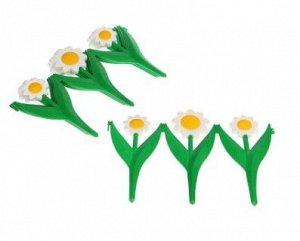Ограждение декоративное, 5 секций, пластик, белый цветок