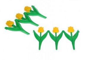 Ограждение декоративное, 5 секций, пластик, жёлтый цветок