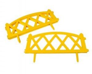 Ограждение декоративное, 4 секции, пластик, жёлтое