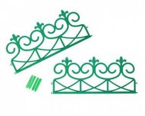 Ограждение декоративное, 2 секции, пластик, зелёное