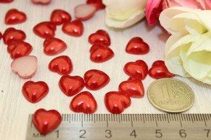 Полубусины фигурные сердца (красный), 12мм в упаковке10 шт.