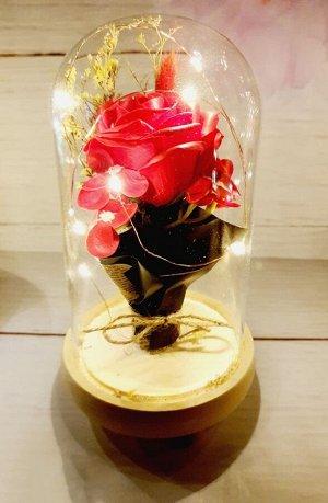 Роза в колбе с подсветкой