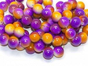 Бусины стеклянные оранжево-сириневые. 10 мм. Цена за 1 шт.