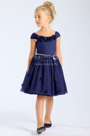 Платье корот.рук,нарядное,пышное,лепестки на груди +золотой ремень Fa-So-La