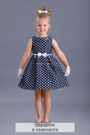 Платье нарядное в горошек с перчатками , завышенная линия талии   Fa-So-La