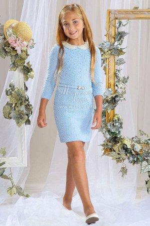 Платье нарядное из букле,длин.рук.,жемчужный воротник  м.Леди