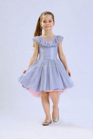 Платье нарядное,б/рук,пышное  из сетки ,шлейф  Н.Год  Fa-So-La