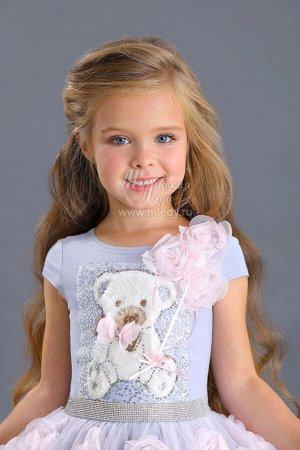 Платье нарядное,кор.рук,пышное,аппликация плюш.мишка.,юбка украшена возд.розами  Н.год  м.Леди