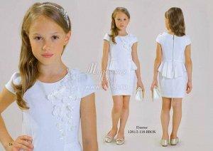 Платье с баской нарядное,объёмные цветочки со стразами  м.Леди
