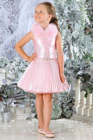 Платье нарядное,пышное,атласа-стрейч,без/рук,мех воротник  м.Леди