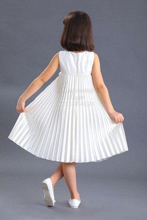 Платье,без  рук Нарядное,завыш.талия,атлас-стрейч,юбка гофрэ м.Леди