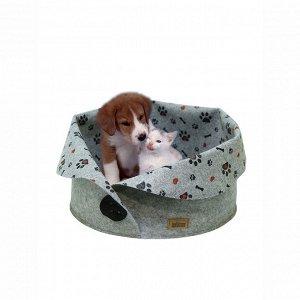 Лежанка «Пуговка» для животных (кошек и собак малых пород),  войлок, 45х45х33см