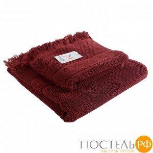 Полотенце банное с бахромой бордового цвета Essential, 70х140 см
