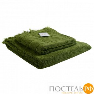 Полотенце банное с бахромой оливково-зеленого цвета Essential, 70х140 см