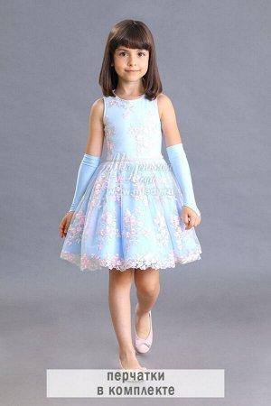 Платье,без/рук ,короткое,сетка с вышивкой +перчатки длин. Н.Г. м.Леди