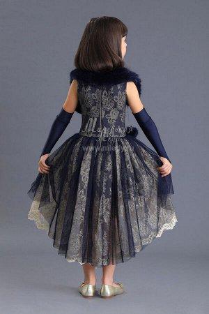 Платье пышное из сетки ,перчатки+мех.воротник Н.Г м.Леди