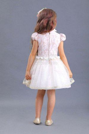 Платье пышное из жаккарда,лиф -кружево,на горловине бантик с брошью  Н.Г м.Леди