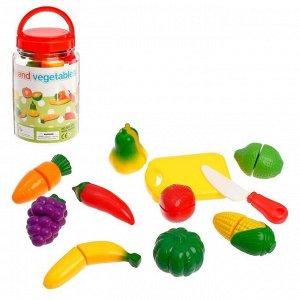 Набор фруктов и овощей на липучке, в банке