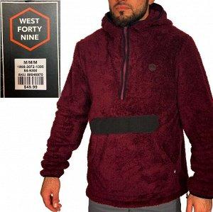 Прикольная мужская толстовка West forty nine – уютно-мохнатая кенгурушка с капюшоном №212