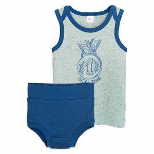 3305 Комплект для мальчика (серый меланж/т.синий)