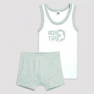 3312 Комплект для мальчика (белый/серый меланж)