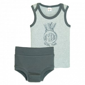 3305 Комплект для мальчика (серый меланж/т.серый)