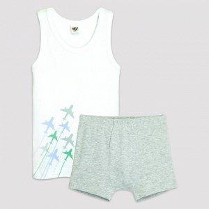 3309 Комплект для мальчика (белый/серый меланж)