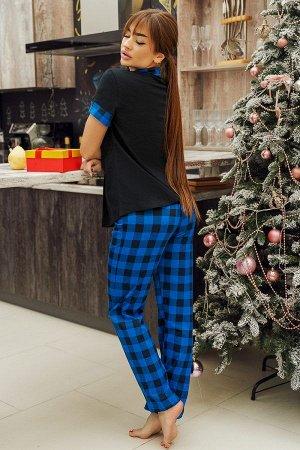Костюм рубашка с брюками ПЖ 026 (Синяя клетка)