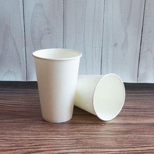 Стакан бумажный 300 мл. белый, D90, 12oz., 50 шт.