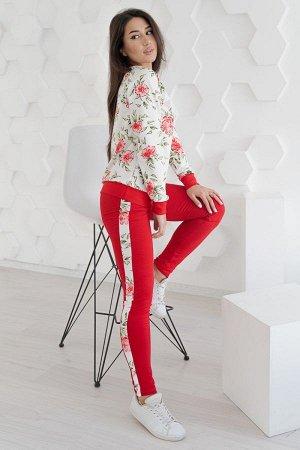Костюм со свитшотом К 083 (Красные цветы)