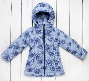 """Куртка синяя утепленная, принт """"Цветы"""" арт.70-014-синий"""