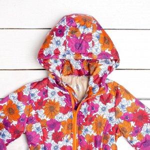 """Куртка утепленная цвета фуксия, принт """"Цветы"""" арт.70-014-фуксия"""